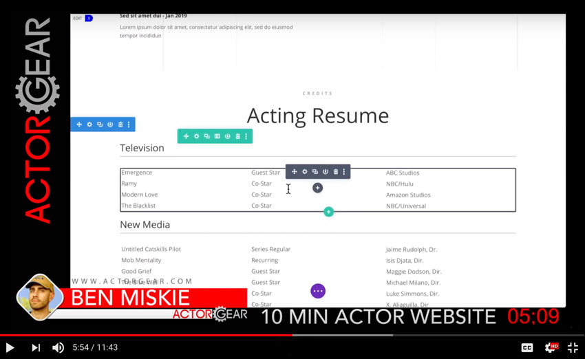 Watch The Actor Website Design Builder 10 Minute Video Demo